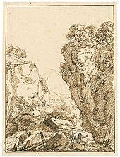 Maler Müller:Kleiner Wasserfall in schroffer Felslandschaft (Federzeichnung) (Quelle: Wikimedia)