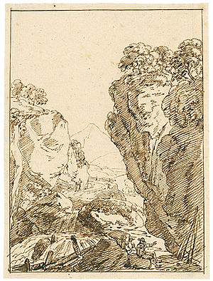 "Maler Müller - Kleiner Wasserfall in schroffer Felslandschaft (""A small waterfall in a rugged landscape with cliffs"")"