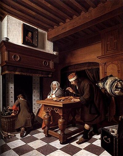 Man, Cornelis de - A Man Weighing Gold - c. 1670