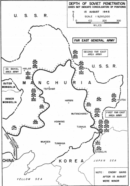 Depth of Soviet penetration into Manchuria as of 15 August 1945 (Credit: JM-154, 1954.) ManchuriaFrontlineAugust15.png