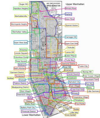 Karte Manhattan Pdf.Liste Der Stadtviertel Manhattans Wikipedia