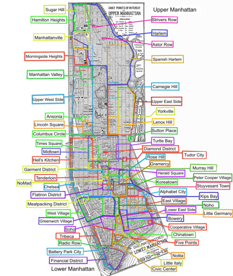 List Of Manhattan Neighborhoods Wikipedia - New york city map with neighborhoods