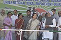 Manmohan Singh at the launch of programmes under National Rural Employment Guarantee Act (NREGA) at Bandlapalle village, Anantapur District of Andhra Pradesh, on Feb 2, 2006. The Chairperson of National Advisory Council.jpg
