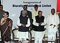 Manmohan Singh inaugurating the first branch of Bharatiya Mahila Bank Limited, in Mumbai. The Governor of Maharashtra, Shri K. Sankaranarayanan, the Chairperson, National Advisory Council.jpg