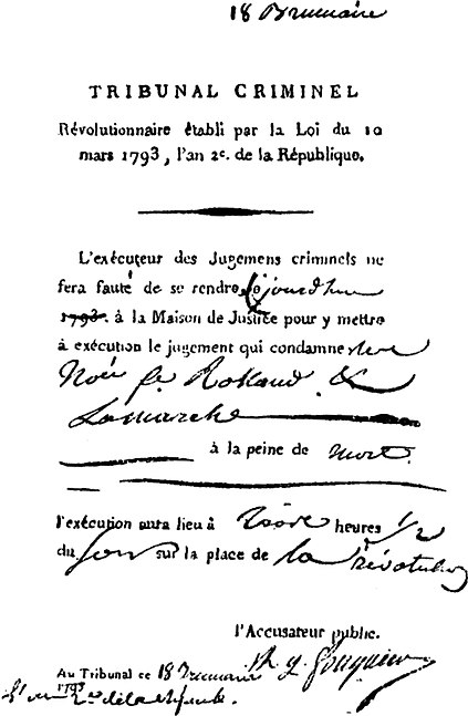 Order for the execution of Madame Roland ManonRolandOrderExecution.jpg
