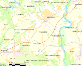 Mapa obce Pérouges