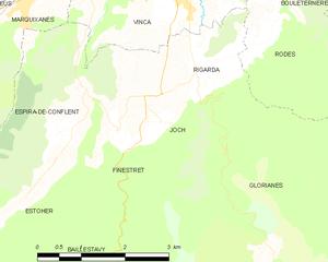Joch, Pyrénées-Orientales - Map of Joch and its surrounding communes