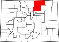 Map of Colorado highlighting Weld County