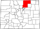 Map of Colorado highlighting Weld County.svg