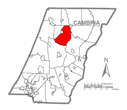 Map of Cambria County, Pennsylvania highlighting East Carroll Township