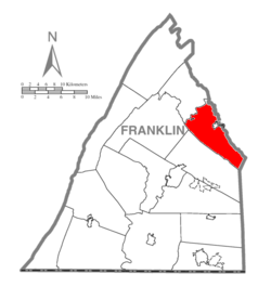 Map of Franklin County, Pennsylvania highlighting Southampton Township