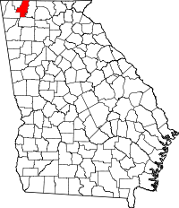 Locatie van Whitfield County in Georgia