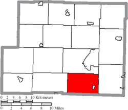 Location of Athens Township in Harrison County