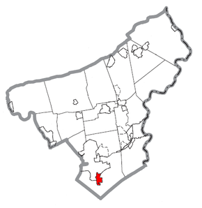 Map of Hellertown, Northampton County, Pennsylvania Highlighted.png