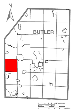 Map of Butler County, Pennsylvania highlighting Lancaster Township