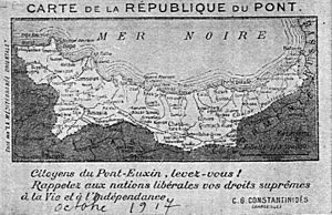 Republic of Pontus - The area claimed for the Republic of Pontus after World War I, based on the extent of the six local Greek Orthodox bishoprics.