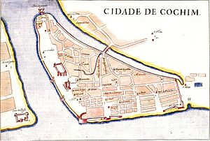 5th Portuguese India Armada (Albuquerque, 1503) - Portuguese map of district of Santa Cruz (Fort Kochi), showing location of Fort Manuel of Cochin.  Orientation is eastwards, with Vembanad lake on top, and Arabian Sea at bottom.  Vypin island is across the water on the left, Mattancherry across the Rio do Esteiro on the right.  At the top of the Santa Cruz peninsula is visible the pezo da pimenta (pepper wharf)