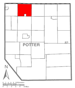 Map of Potter County, Pennsylvania Highlighting Oswayo Township.PNG