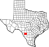 State map highlighting Zavala County