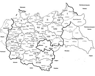 Military district (Germany) - Map of the Wehrkreise in 1943-1944