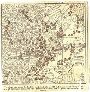 Nottingham Blitz - Map of locations of bombing in Nottingham during the Second World War. Published in the Nottingham Evening Post 17 May 1945