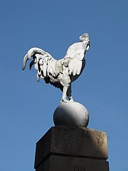 Cockerel crowning the village's war monument