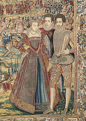 Valois Tapestries - Marguerite de Valois and her brother François, Duke of Anjou (right) are depicted in  the Valois Tapestries