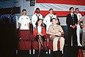 Marilyn Quayle listens to a speech by Vice President Dan Quayle aboard the USS DWIGHT D. EISENHOWER.jpg