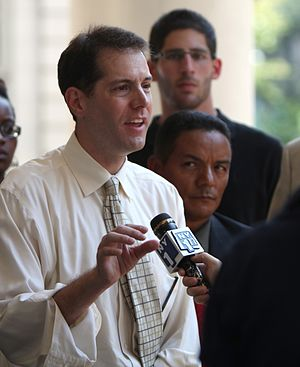 Mark D. Levine - Image: Mark D. Levine speaking to NY1 at press conference