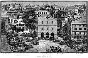 Market House (Providence, Rhode Island) - Market Square in 1844. Market House in center.