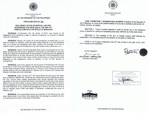 Martial law in the Philippines - Proclamation Number 216 declaring martial law in Mindanao.