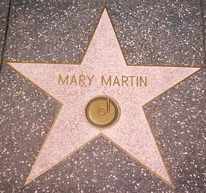 "Mary Martin - Star for ""Recording"" on the Hollywood Walk of Fame at 1560 Vine Street, Hollywood: She also has one for ""Radio"" at 6609 Hollywood Blvd."