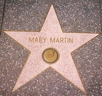 Mary Martin - Star for Recording on the Hollywood Walk of Fame at 1560 Vine Street, Hollywood: She also has one for Radio at 6609 Hollywood Blvd.