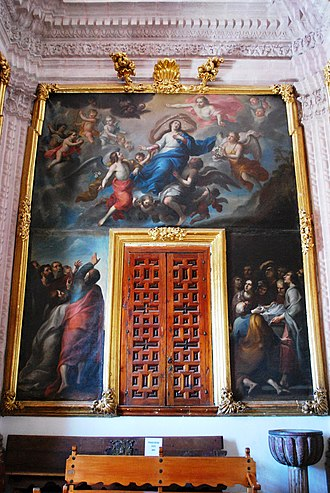 New Spanish Baroque - The Assumption of the Virgin, sacristy of the Church of Santa Prisca in Taxco by Cristóbal de Villalpando.