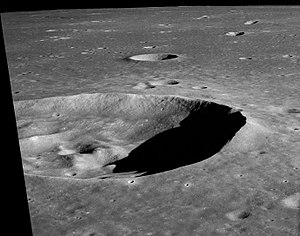 Maskelyne (crater) - Oblique view of Maskelyne from Apollo 10