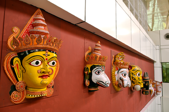 Biju Patnaik International Airport - Masks in the arrival area of Biju Patnaik International Airport