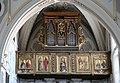 Matera, san francesco, interno, organo settecentesco con cantoria che ingloba pannelli di lazzaro bastiani, 01.jpg