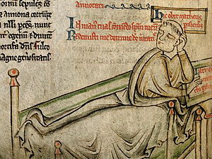 Liber Eliensis - The medieval chronicler, Matthew Paris, shown here in a 13th-century manuscript depiction of his deathbed, used the Liber as a source for his works.