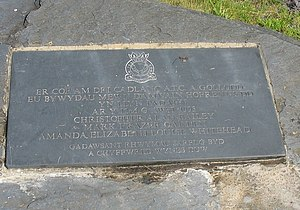1993 Llyn Padarn helicopter crash - The plaque.