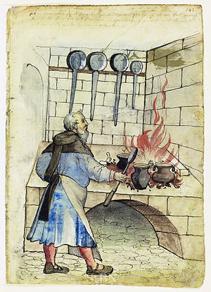 Cook (profession) - A cook at work (15th- or 16th-century German illustration)