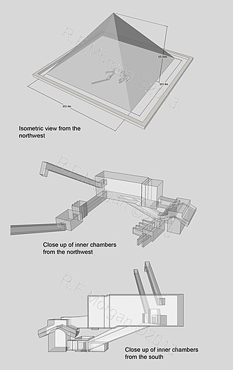 Pyramid of Menkaure - Isometric views of the pyramid of Menkaure taken from a 3d model