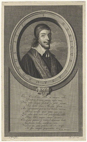 Méric Casaubon - Line Engraving of Meric Casaubon by Pieter Stevens van Gunst, after  Adriaen van der Werff, published 1709