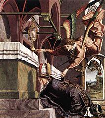 Kirchenväteraltar, Flügelaußenseite: Dem hl. Sigisbertus erscheint ein Engel mit dem Herzen des hl. Augustinus