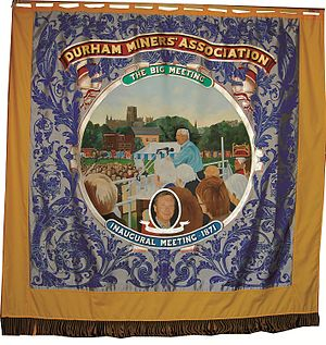 Michael Watt (philanthropist) - One of the Durham Miners' Associations' banners which features Anthony Wedgwood Benn, as well as Michael Watt.