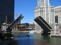 The Michigan Avenue Bridge was once the main link of the North and South sides of Chicago across the Chicago River.
