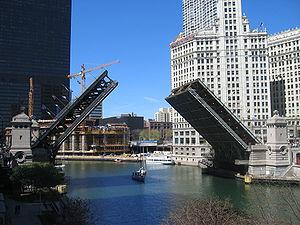 Michigan Avenue Bridge - The Michigan Avenue Bridge is raised twice weekly in the spring and fall