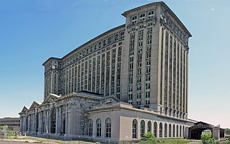 U.S. Route 12 in Michigan - Historic Michigan Central Station  along Michigan Avenue