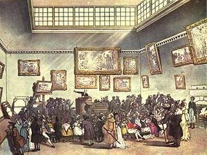 Christie's - The Microcosm of London (1808), an engraving of Christie's auction room