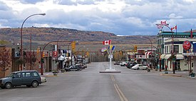 "Looking south into downtown Dawson Creek, with the Mile ""0"" post."