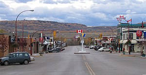 "Dawson Creek - Looking south into downtown Dawson Creek, with the Mile ""0"" post."